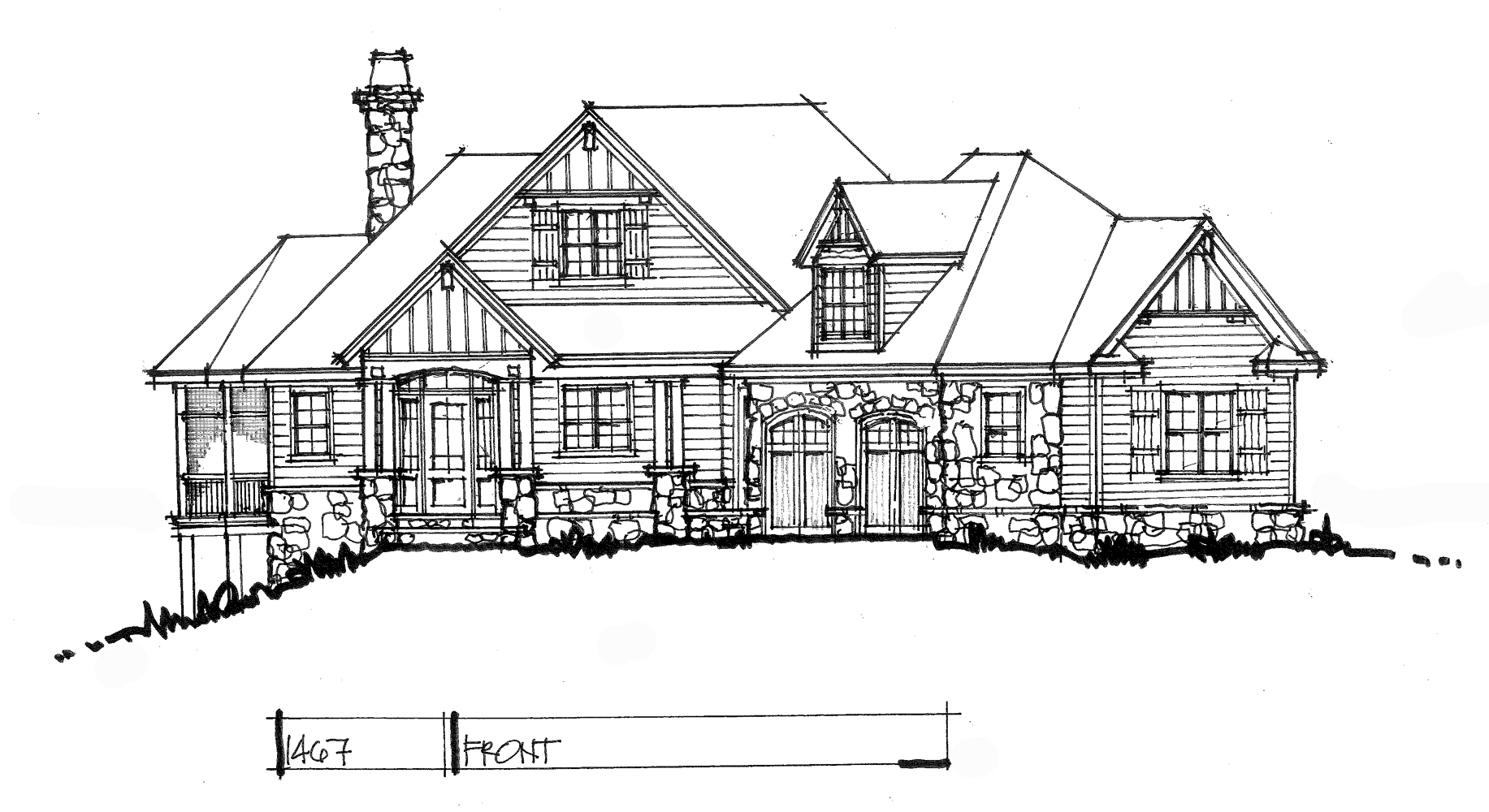 Check out the front rendering of house plan 1467.