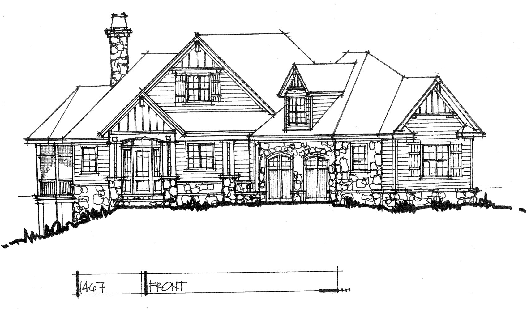 Check out the front elevation of house plan 1467.