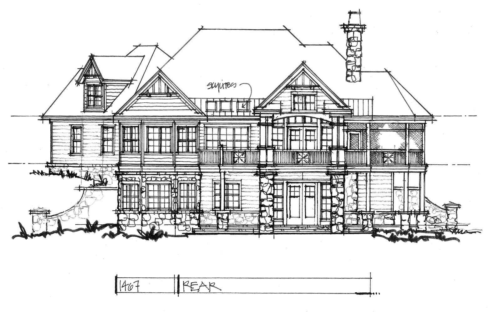 Check out the rear elevation of house plan 1467.