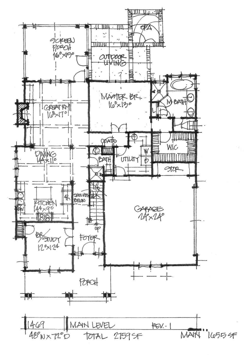 Check out the first floor plan of house plan 1469.