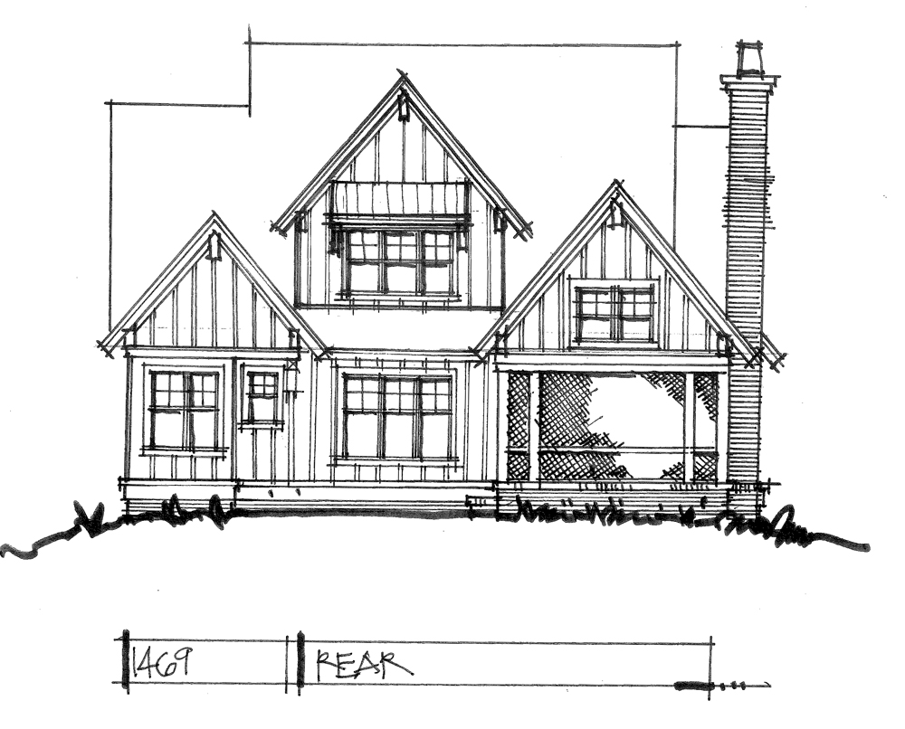 Check out the rear elevation for house plan 1469.