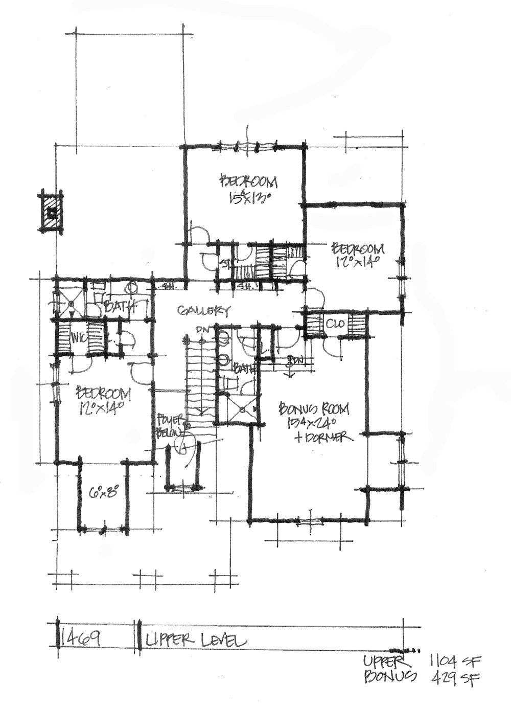 House Plan on the Drawing Board 1469 features a modern facade with a family-friendly floor plan!