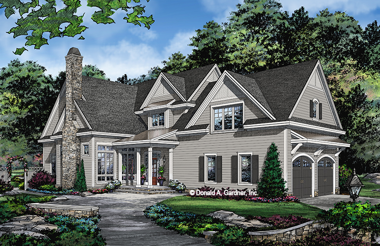 Check out the front rendering of The Bridgette, house plan 1470.