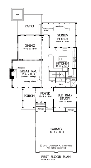 Check out the first floor plan of The Bridgette, house plan 1470.