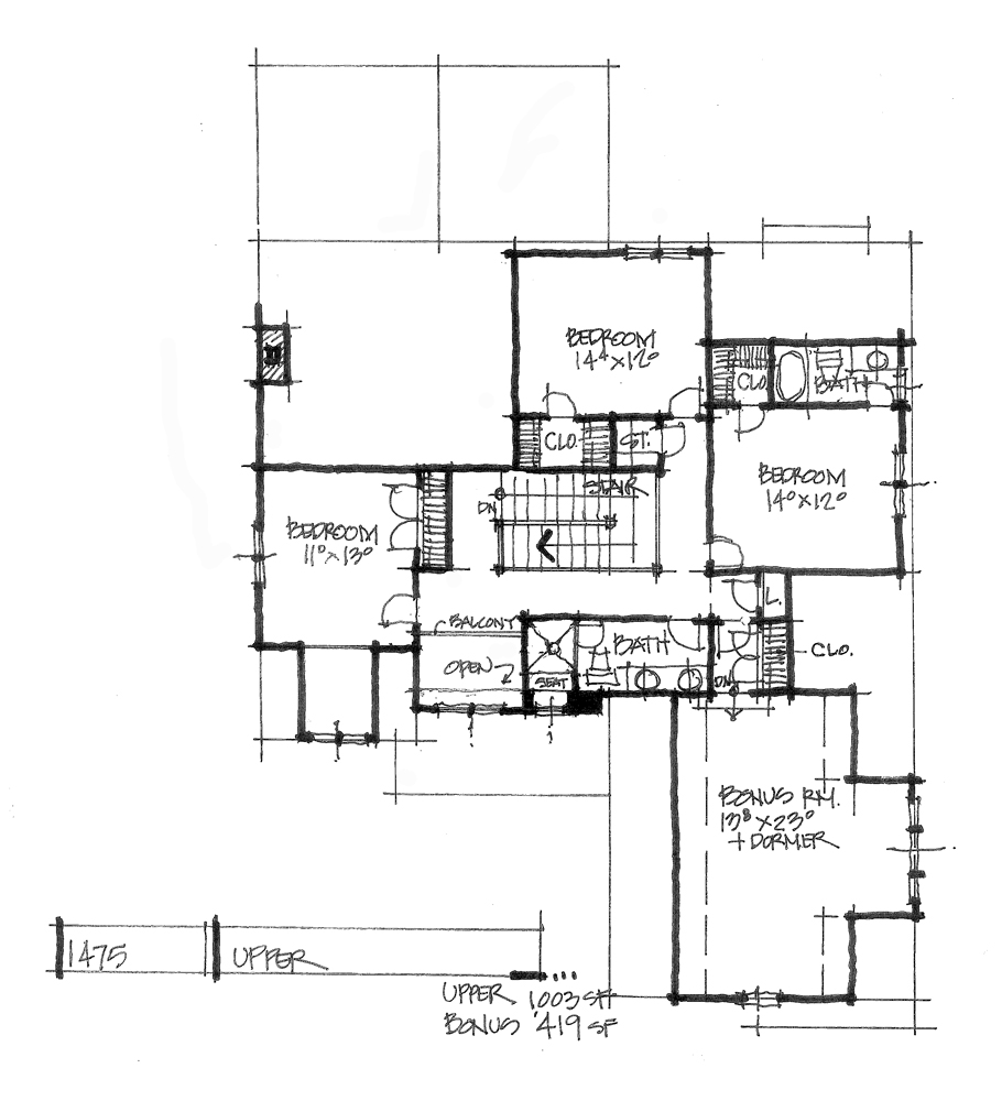 Check out the second floor plan of conceptual design 1475.
