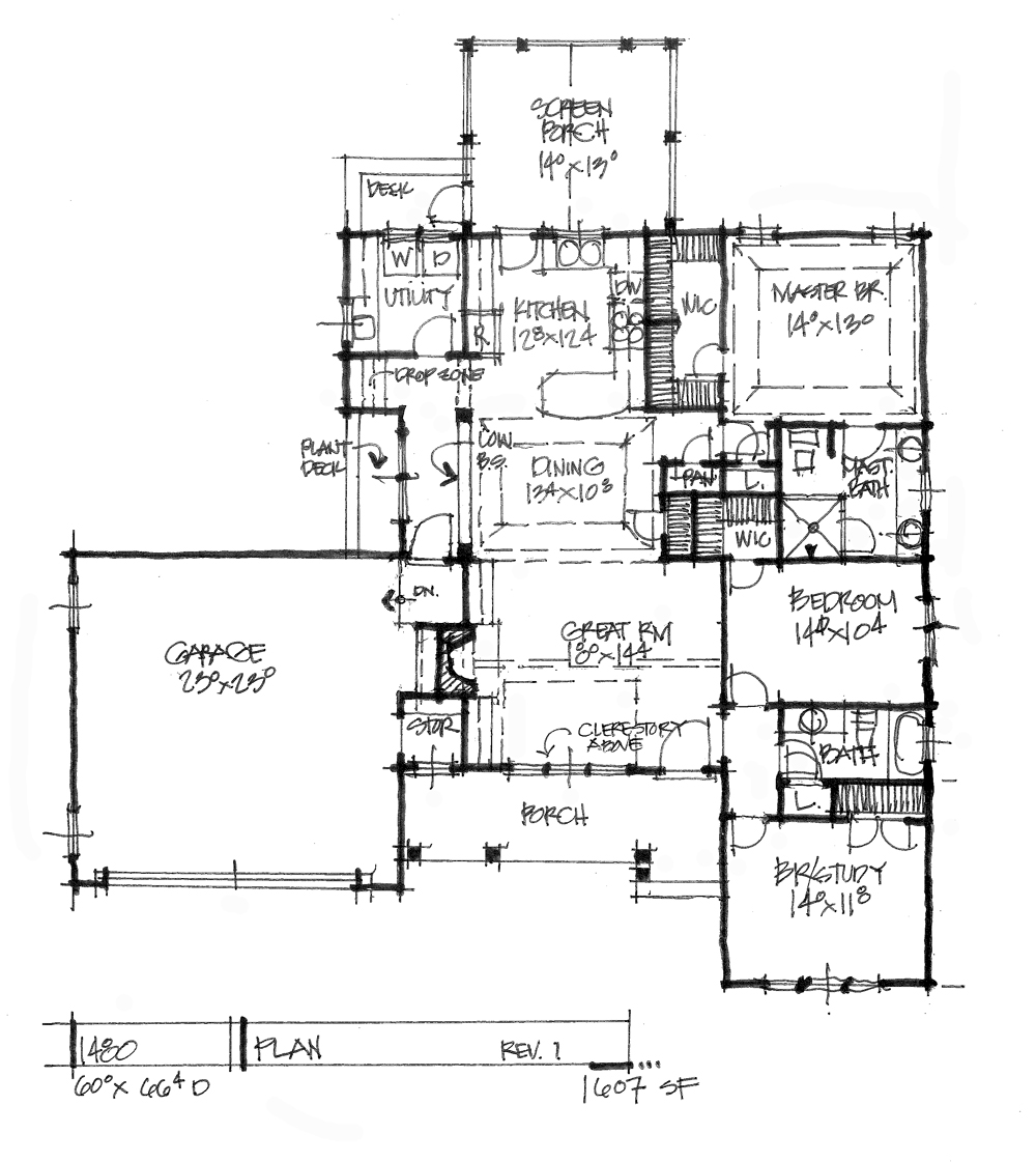 Check out the first floor plan of conceptual house plan 1480.