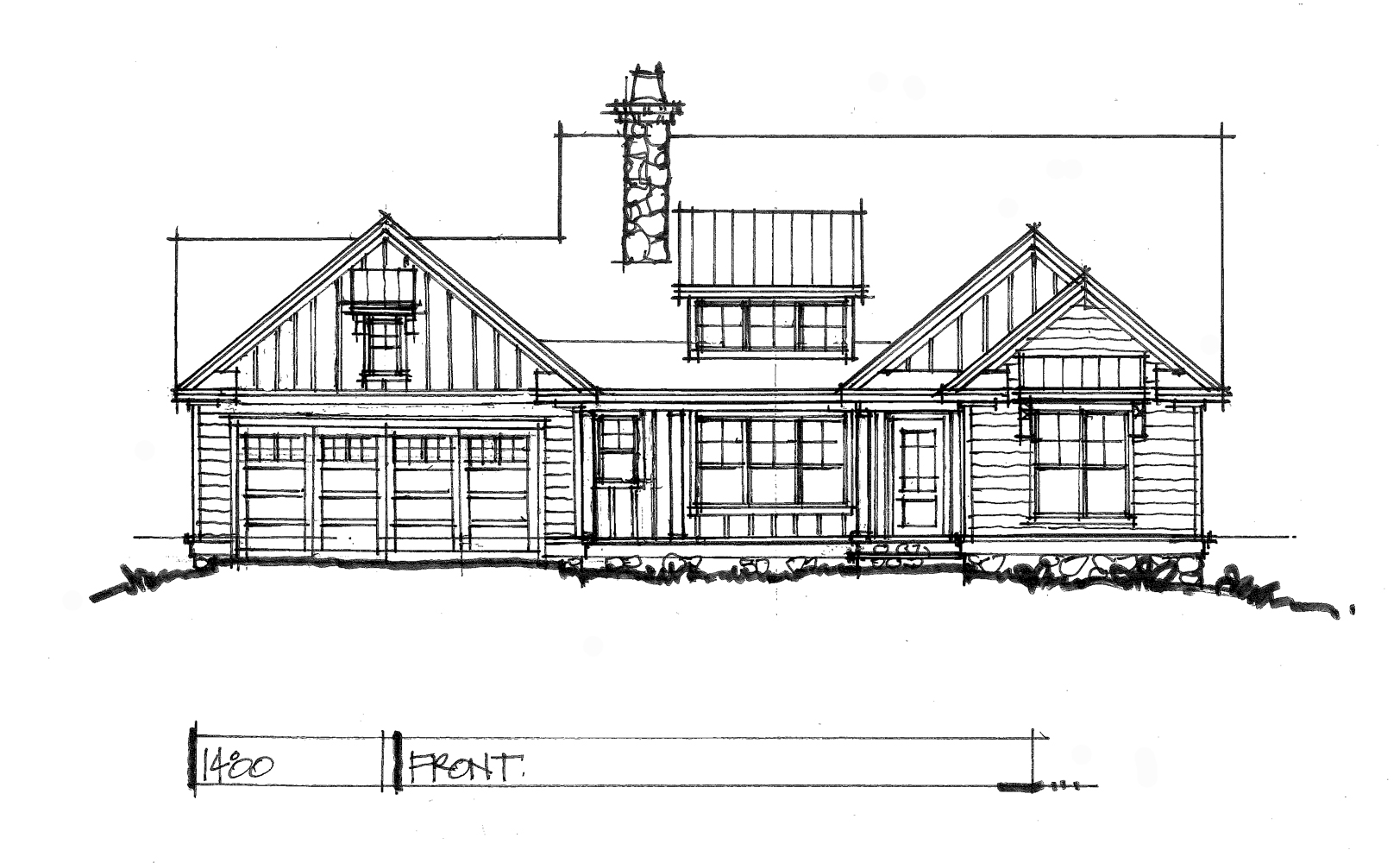 Check out the front elevation for conceptual house plan 1480.