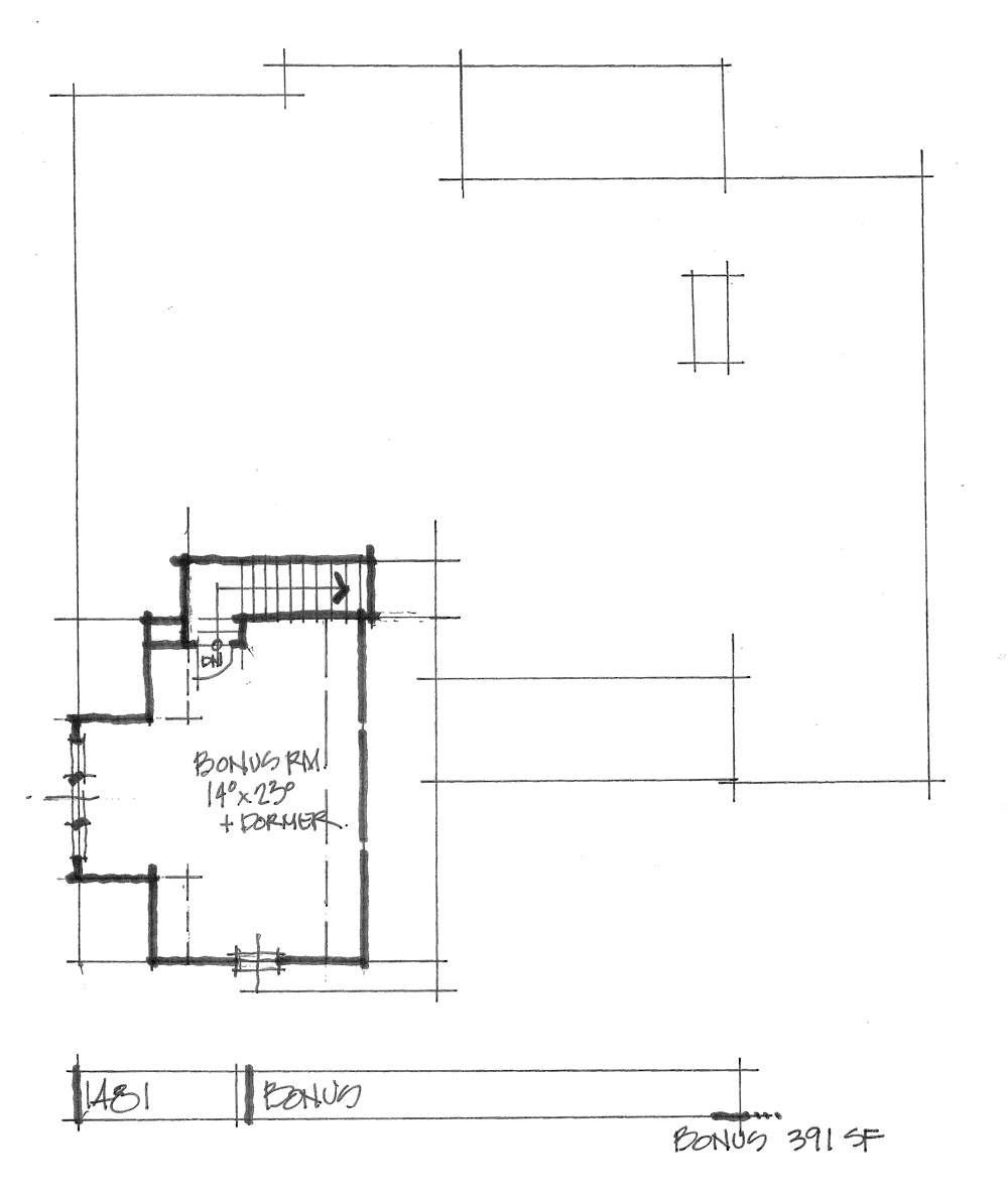 Check out the bonus room of house plan 1481.