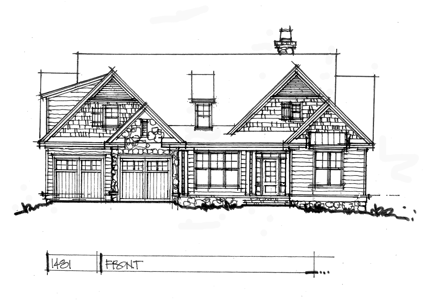 Check out the front elevation for house plan 1481.