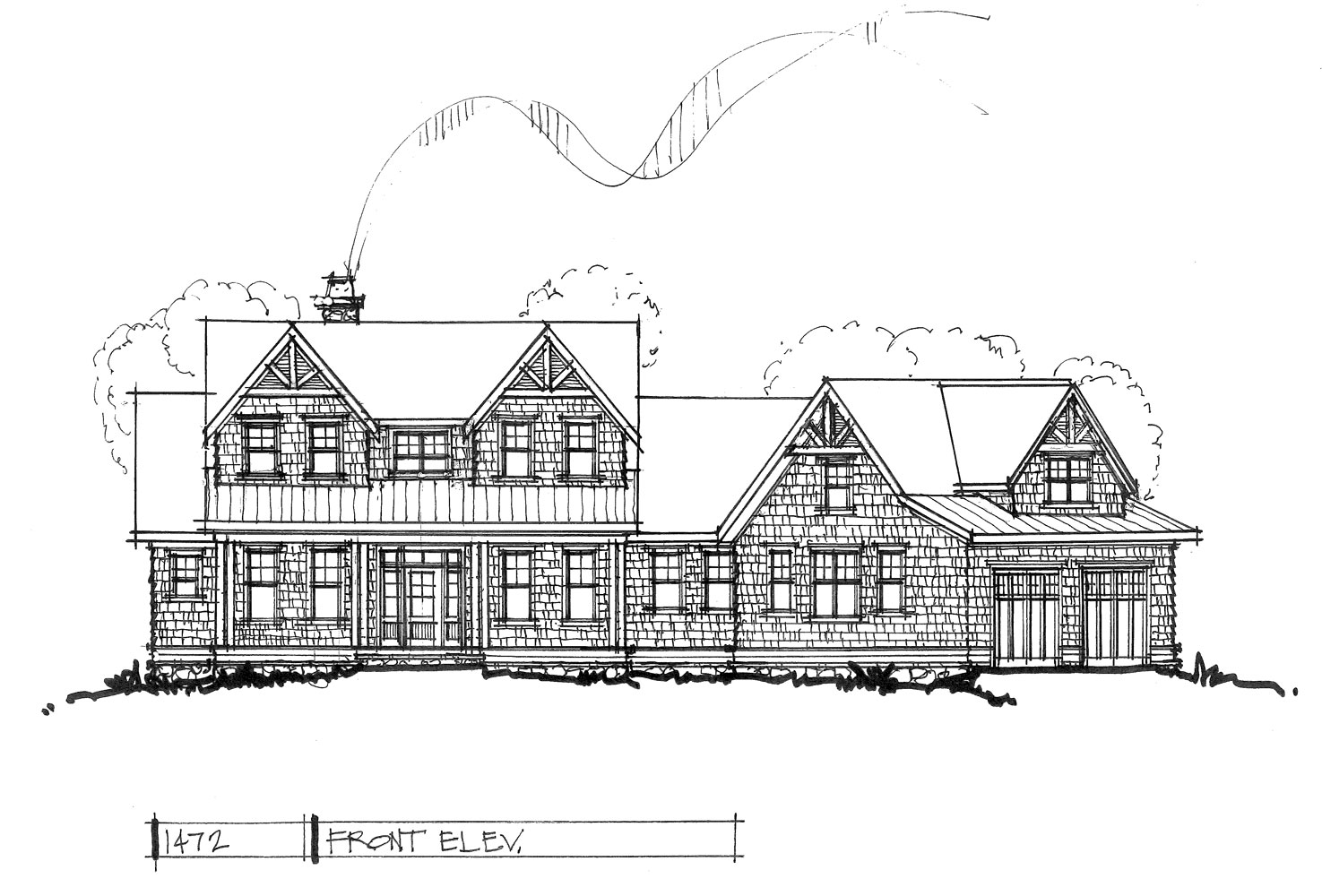 Check out the front elevation of house plan 1472.