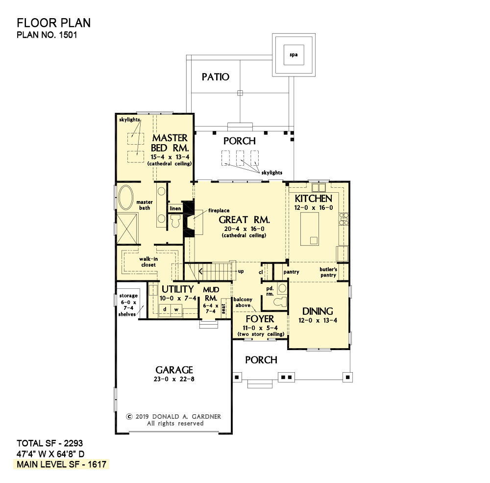 First floor of The Applecross house plan 1501.