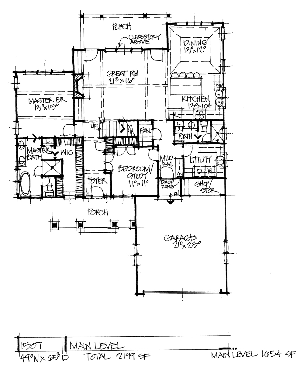 Check out the first floor of conceptual house plan 1507.