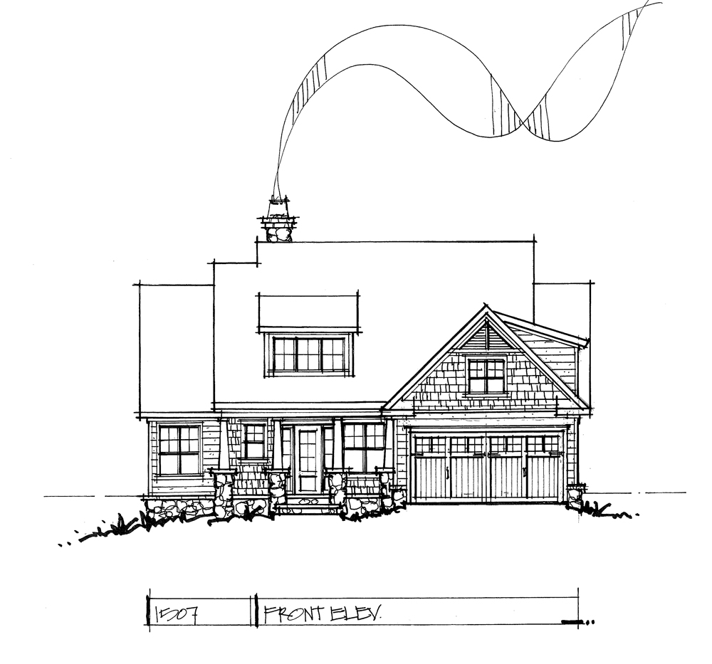 Check out the front elevation of conceptual house plan 1507.
