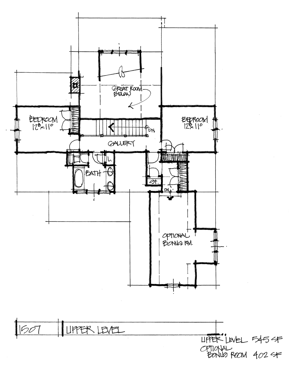 Check out the second floor of conceptual house plan 1507.