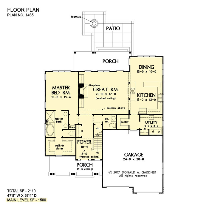 Check out the first floor plan of The Oxley house plan 1465.