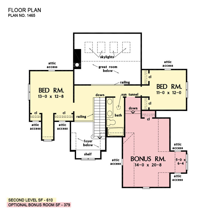 Check out the second floor plan of The Oxley house plan 1465.