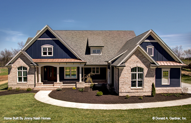Front exterior of Craftsman home plan 1409, The Austin.