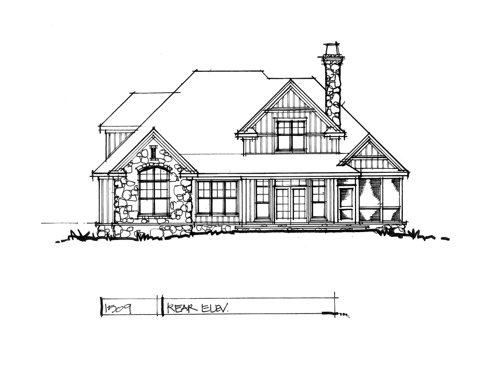 Rear elevation of conceptual house plan 1509.