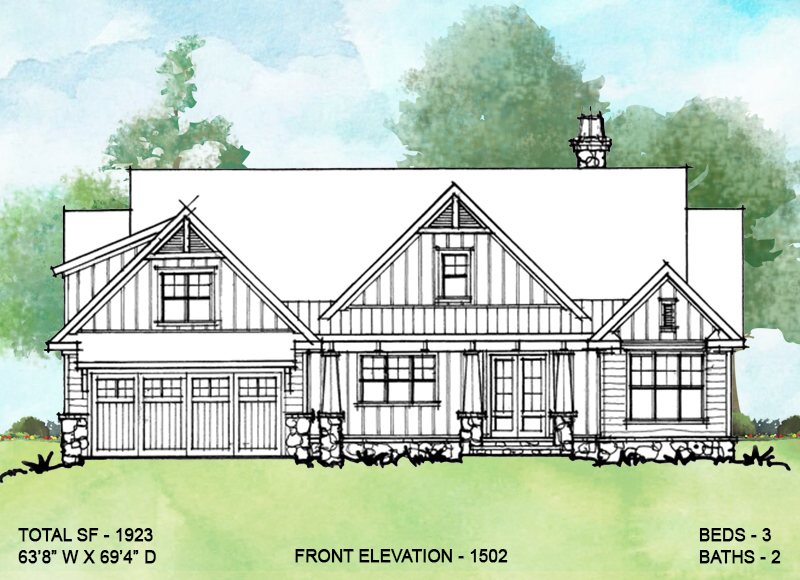Front elevation of Conceptual house plan 1502.