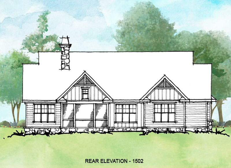 Rear elevation of conceptual house plan 1502.