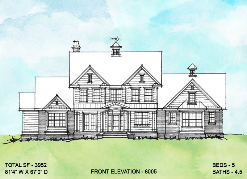 Front elevation of conceptual house plan 6005.