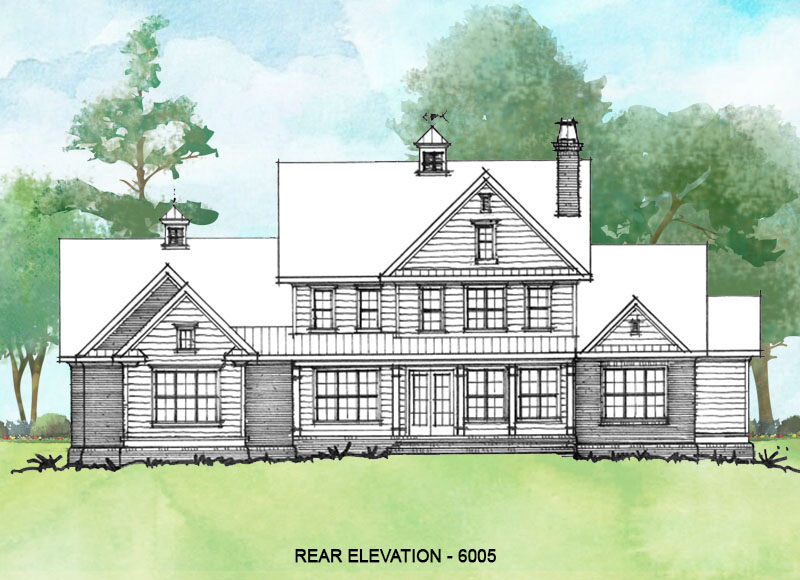 Rear elevation of conceptual house plan 6005.