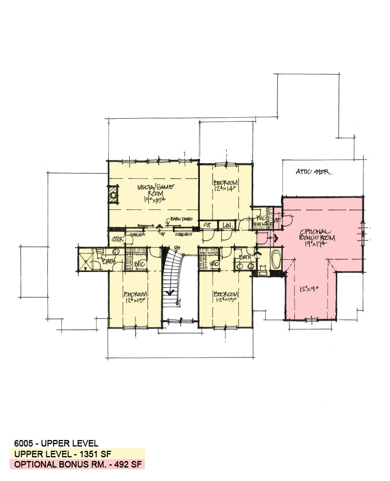 Second floor plan of conceptual house plan 6005.