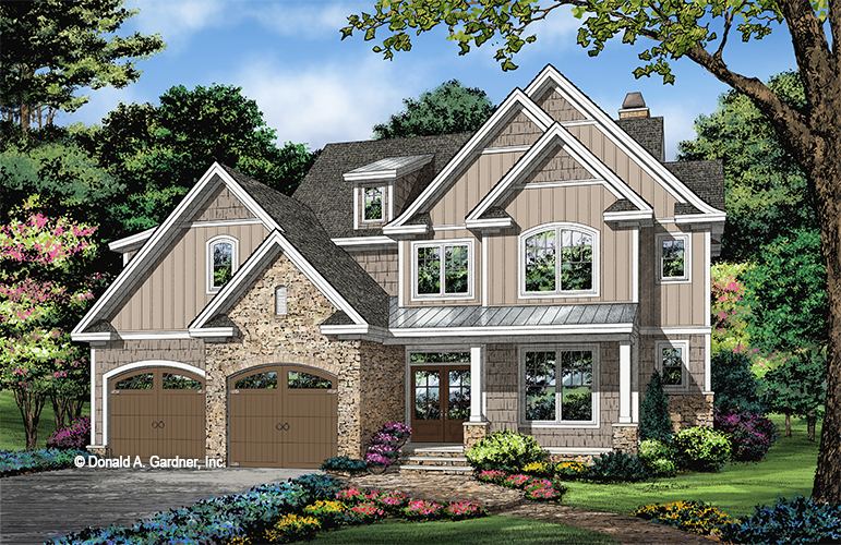 Front rendering of The Lupine house plan 1487.