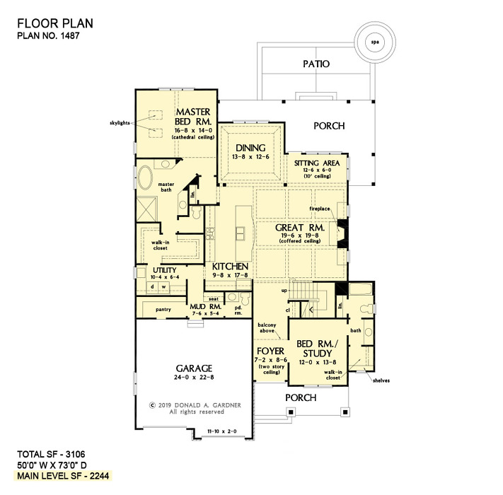 First floor of The Lupine house plan 1487.