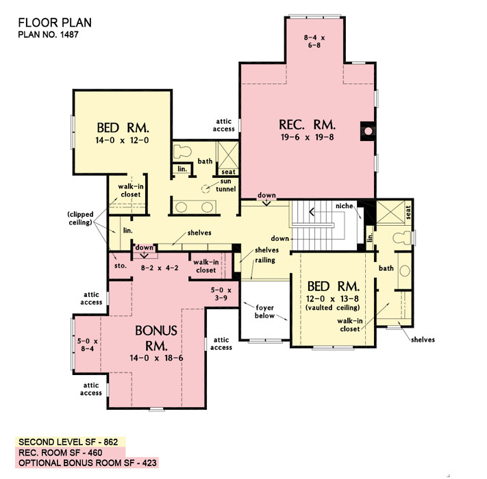 Second floor of The Lupine house plan 1487.