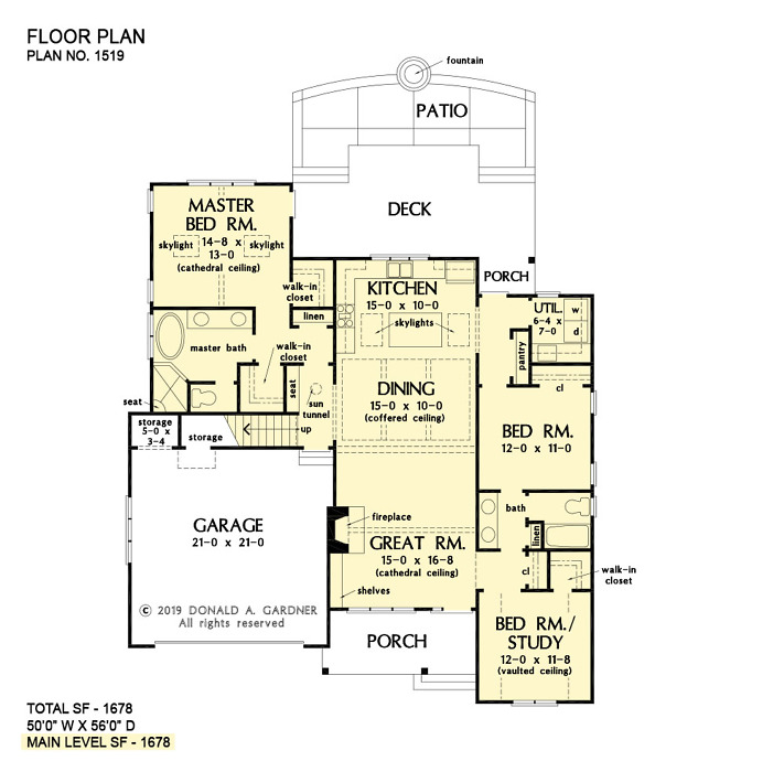 First floor of The Fillion house plan 1519.