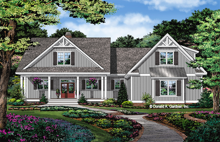 Front rendering of The Estelle house plan 1521.