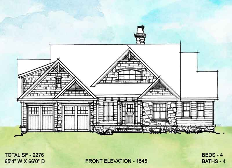 Front elevation of conceptual house plan 1545.