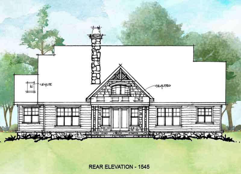 Rear elevation of conceptual house plan 1545.