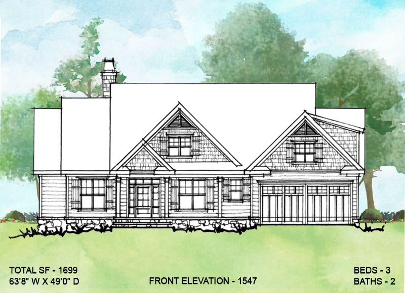 Front elevation of conceptual house plan 1547.