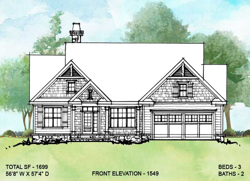 Front exterior of conceptual house plan 1549.