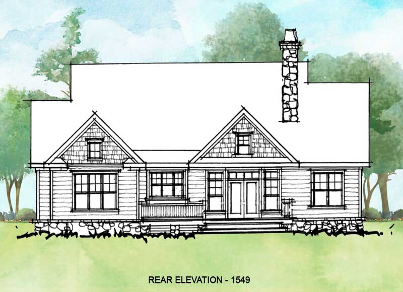 Rear elevation of conceptual house plan 1549.