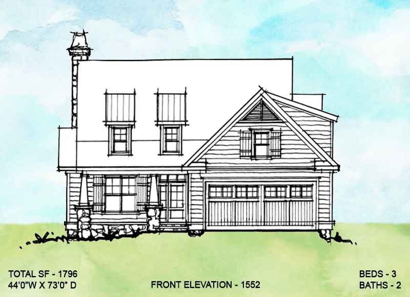 Front elevation of conceptual house plan 1552.
