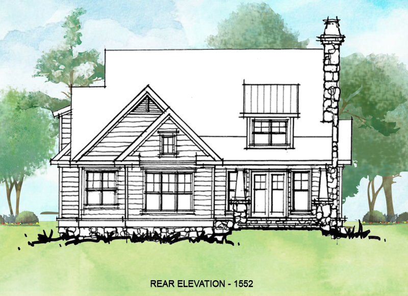 Rear elevation of conceptual house plan 1552.