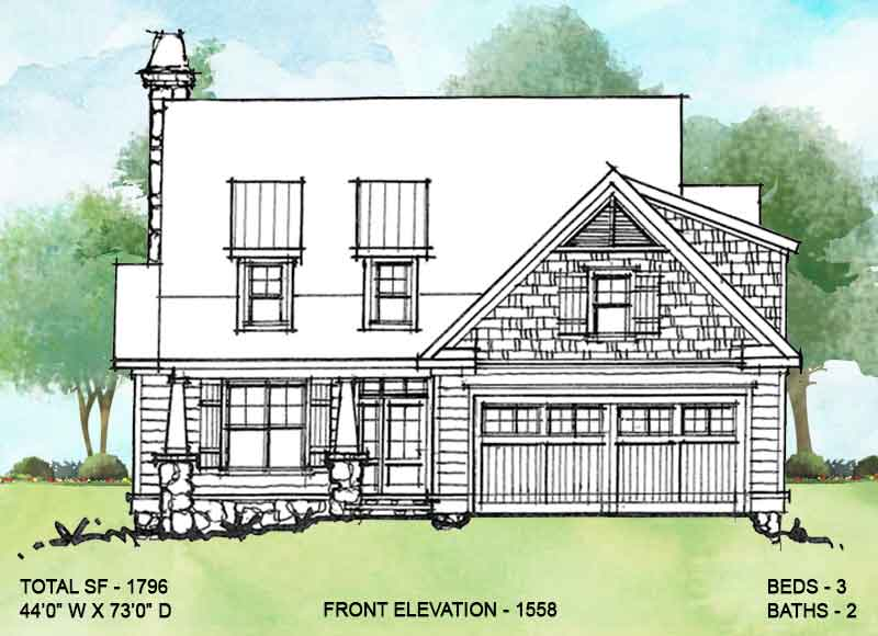 Front elevation alternate 1 for conceptual house plan 1558.