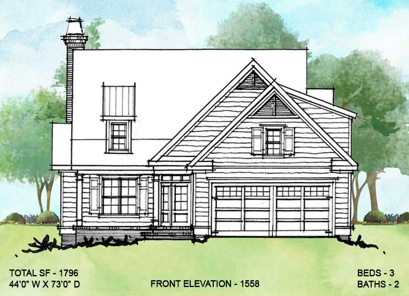 Front elevation alternate 2 for conceptual house plan 1558.