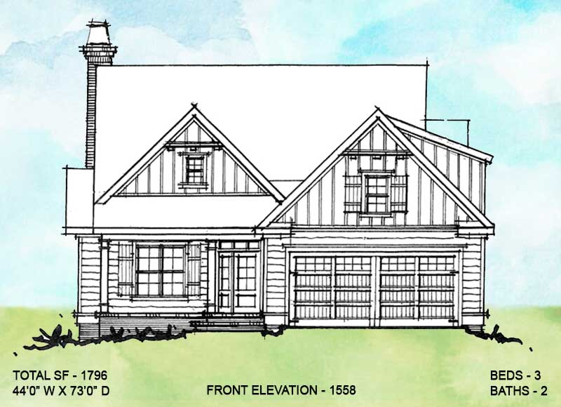 Front elevation alternate four for conceptual house plan 1558.