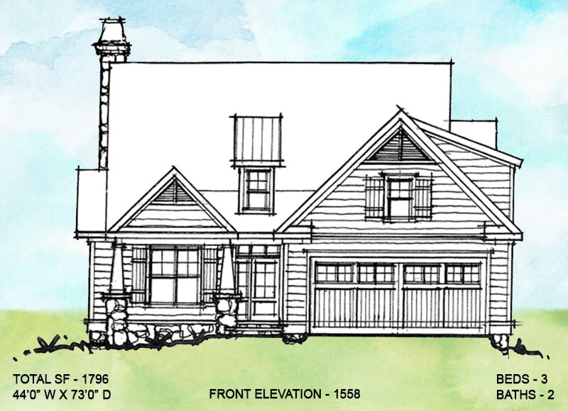 Front elevation alternate three for conceptual house plan 1558.