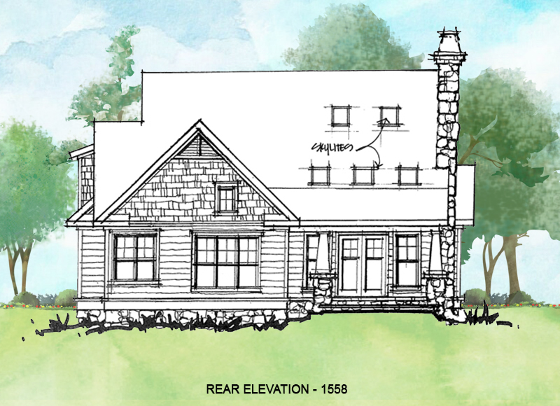 Rear elevation for conceptual house plan 1558.