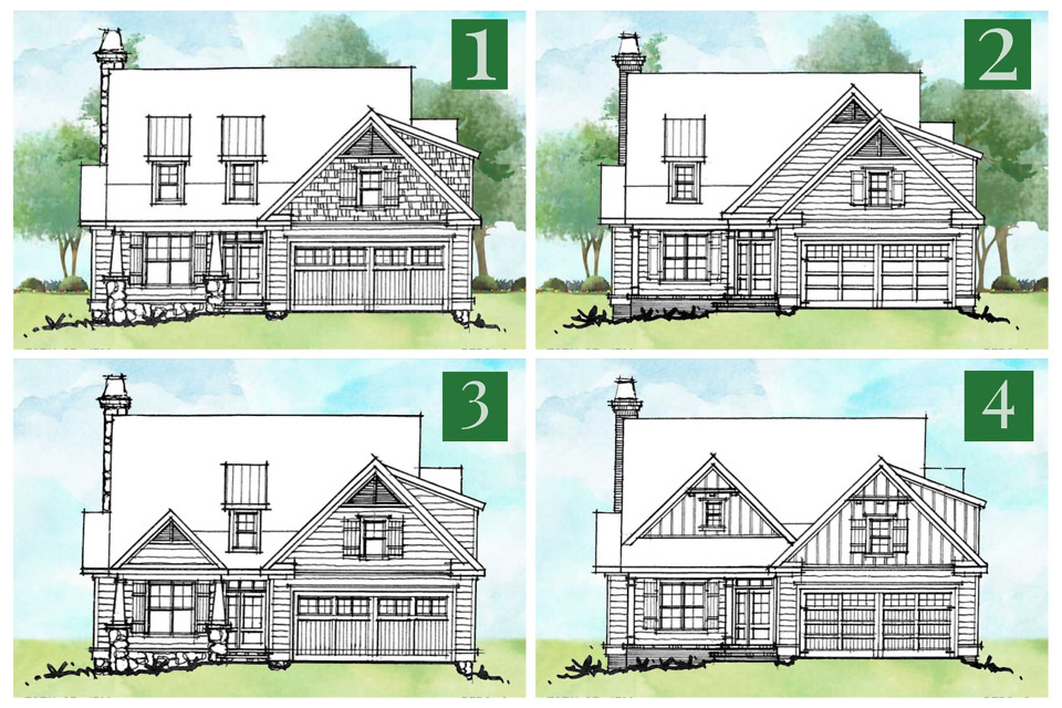 Alternate elevations for conceptual house plan 1558.