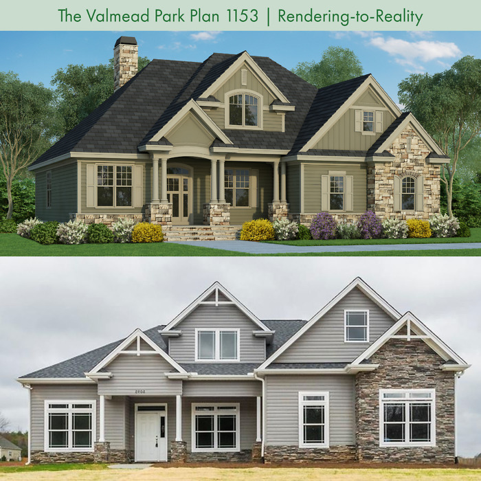 Rendering-to-Reality of The Valmead Park house plan 1153.