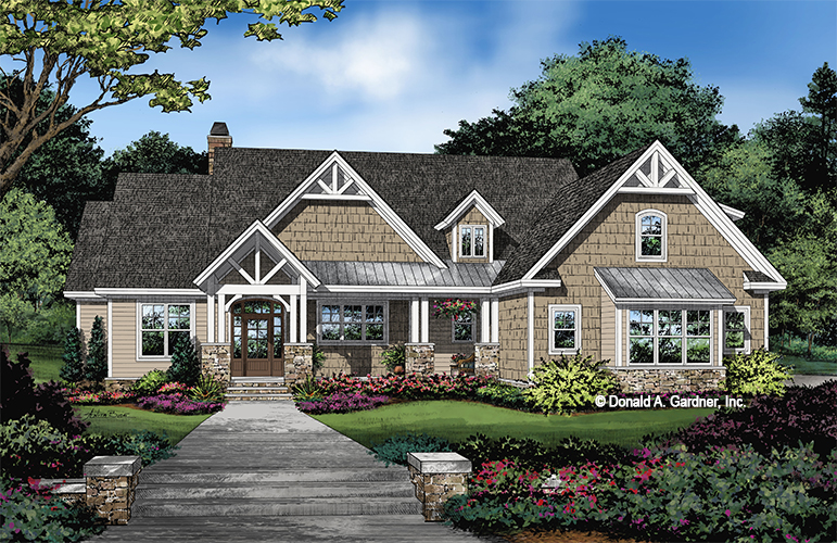 Front rendering of The Carden house plan 1439.