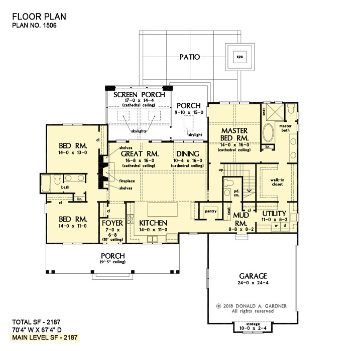 First floor of The Ashbry house plan 1506.