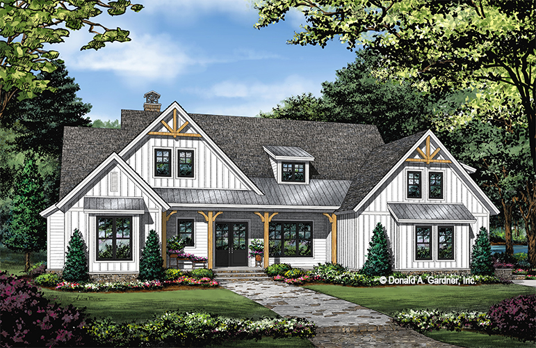 Front rendering of The Sloan home plan 1528.