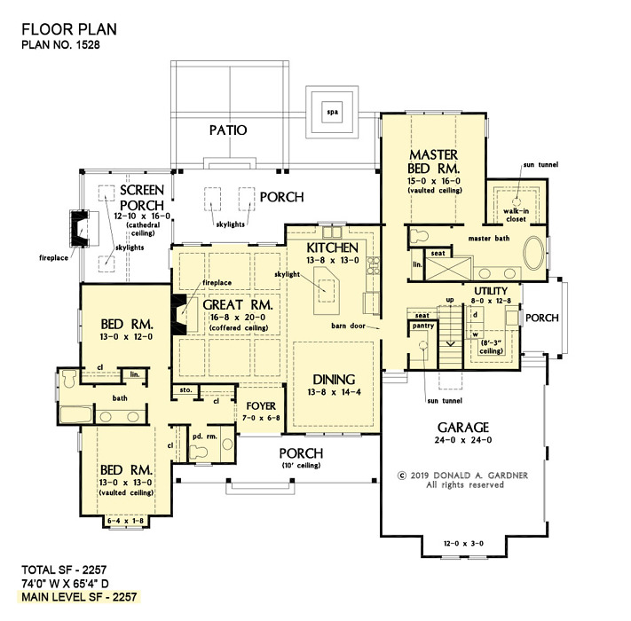 First floor of The Sloan home plan 1528.